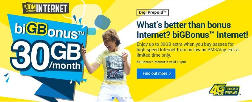 Digi biGBonus offers extra 5+30GB internet for RM30/month